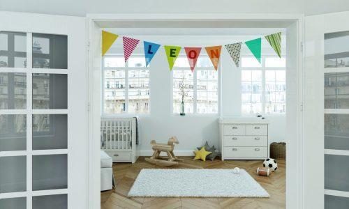 Kinderzimmer mit Wimpelgirlande - Name Leon