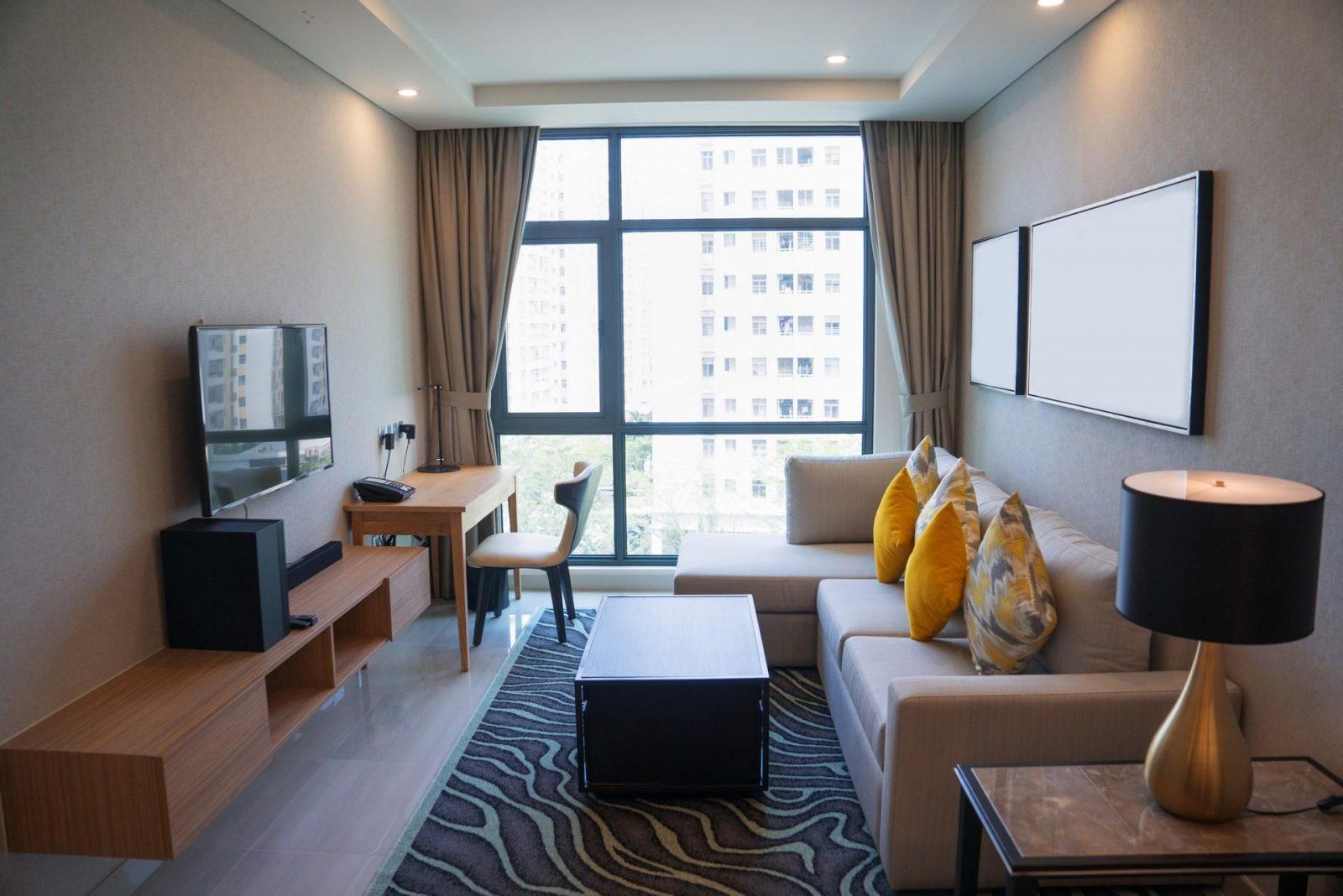 Cozy living room interior design with panoramic window