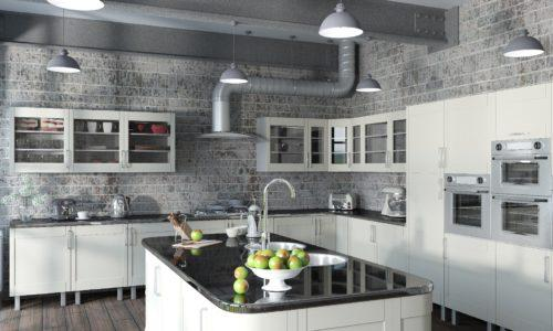 3D render of a contemporary kitchen